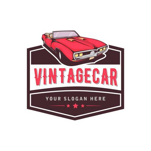 Eine Schablone des klassischen oder Vintagen oder Retro- Autologodesigns. Vintage-Stil vektor