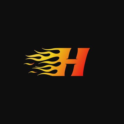 Buchstabe H brennende Flamme Logo Entwurfsvorlage vektor
