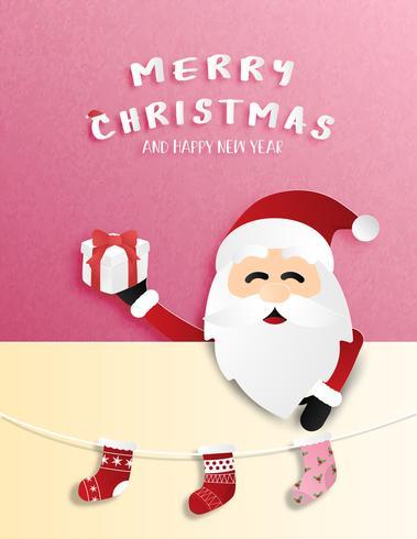 Weihnachtsfeier in Papierschnittart. vektor