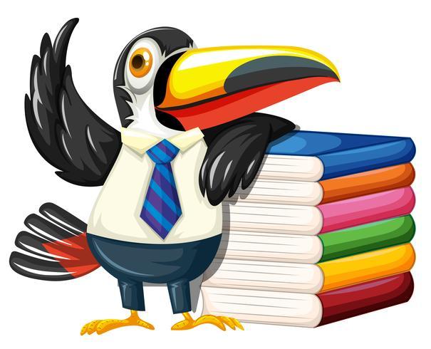 Toucan med många böcker vektor
