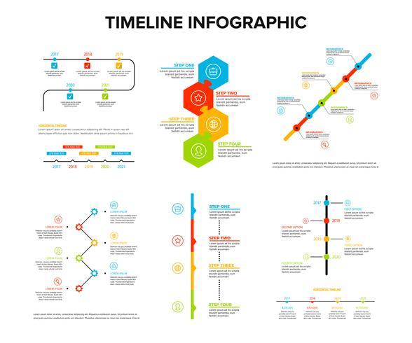 Zeitachse infographics Design stellte mit flacher Art, Arbeitsfluss oder Prozessdiagramm, Flussdiagramm, Vektorillustration ein vektor