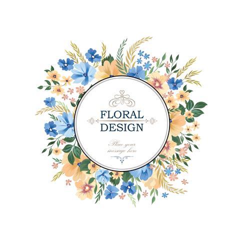 Blomramrammönster. Blomcirkelgränsbakgrund. Hälsning vektor