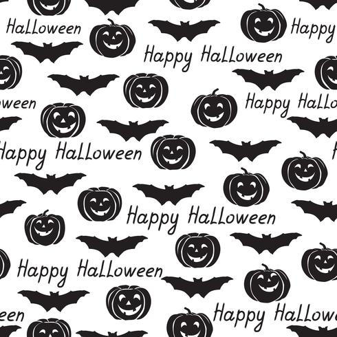 Halloween sömlöst mönster. Semester bakgrund med fladdermöss, pumpa vektor