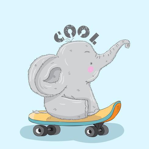 Söt liten elefant på en skateboard vektor