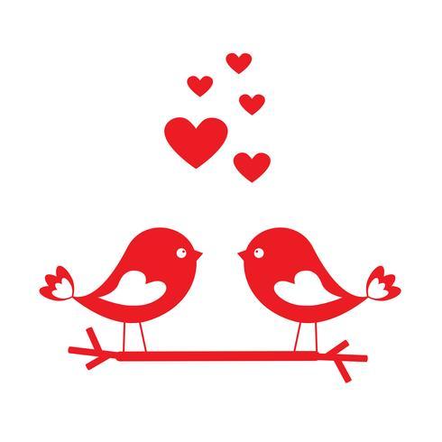Kärlek fåglar med röda hjärtan - kort för Alla hjärtans dag vektor