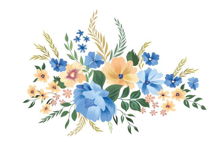 Rahmen Blumenmuster. Blumenstrauß Hintergrund. Grußkarte d vektor