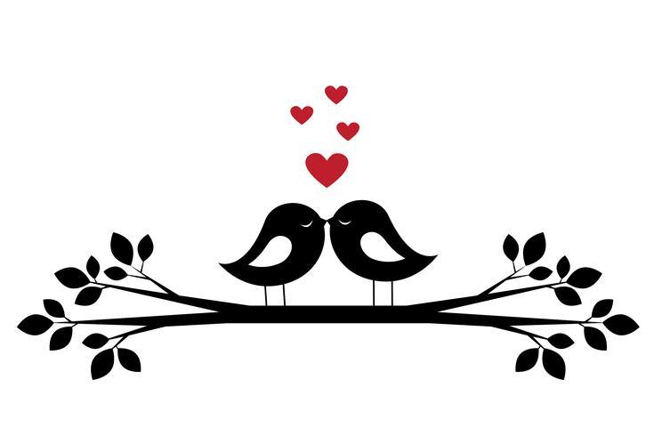 Silhuetter söta fåglar kyss och röda hjärtan vektor