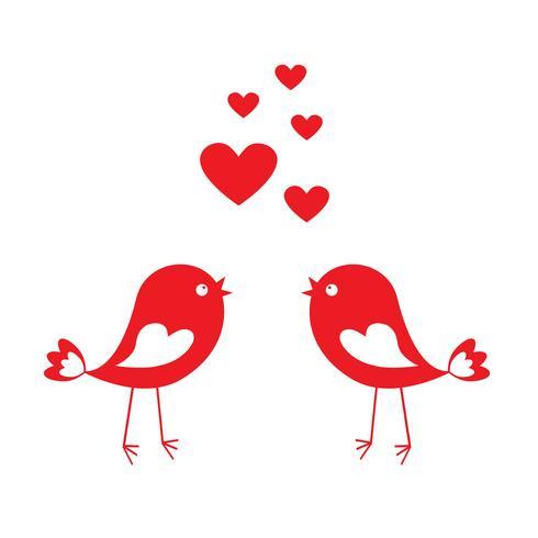 Älska söta fåglar med röda hjärtan vektor