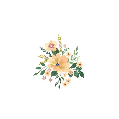 Blomramrammönster. Blomma bukett bakgrund. Hälsningskort d vektor