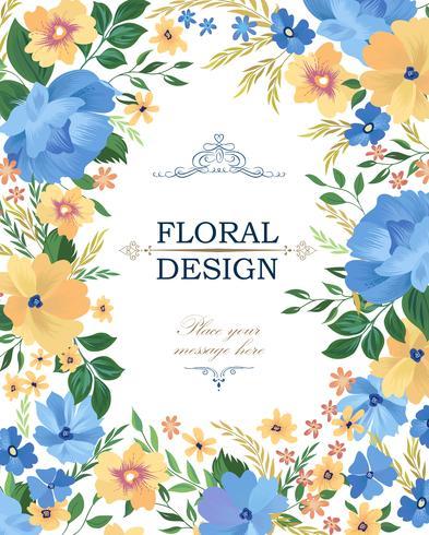 Blomramrammönster. Flower border bakgrund. Hälsningskort de vektor