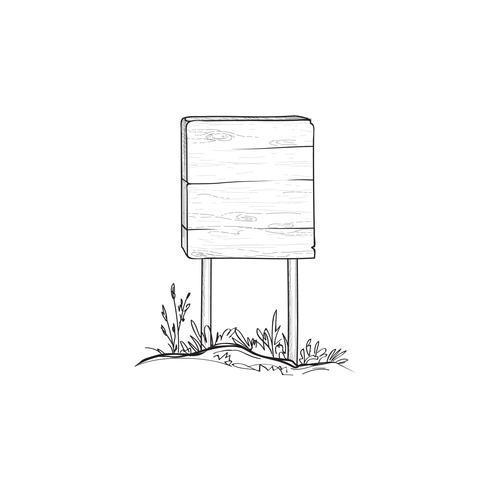 Skyltskiss Doodle trä vägskylt. Plankskylt vektor