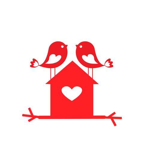 Lieben Sie niedliche Vögel und Vogelhaus - Karte für Valentinstag vektor