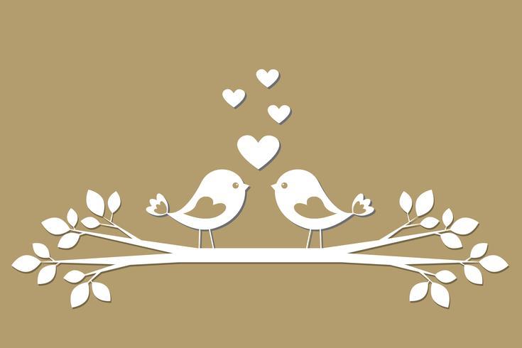 Söt fåglar med hjärtan skärande från papper vektor