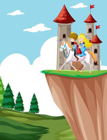 Prins och prinsessa ridhäst vektor