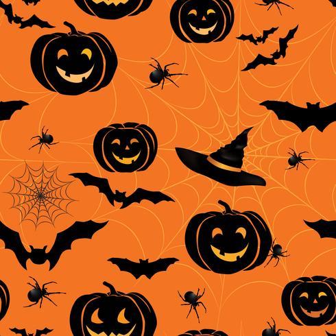 Glad Halloween sömlöst mönster. Holiday party bakgrund med vektor