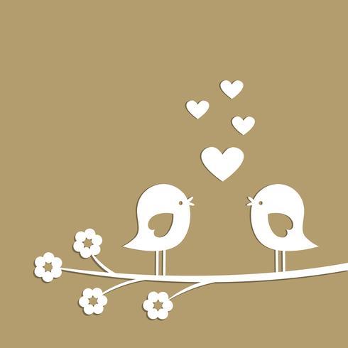 Söt fåglar med hjärtan som skärs från vitt papper vektor