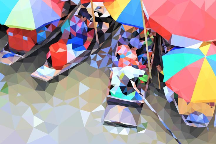 Polygon flytande marknad i Thailand. vektor