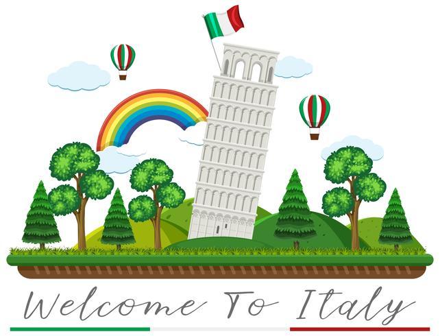 Italien Landmärke på vit bakgrund vektor