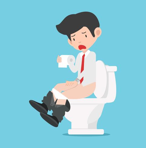 Geschäftsmann, der auf weißer Toilette sitzt vektor