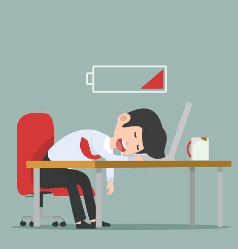 Geschäftsmann bei der Arbeit schlafen vektor