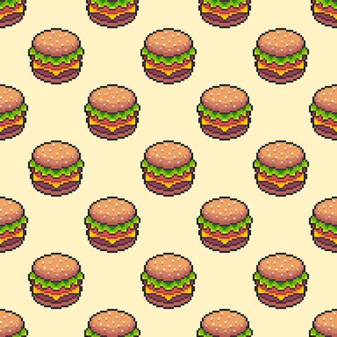 Pixel Art Cheeseburger nahtlose Hintergrund vektor