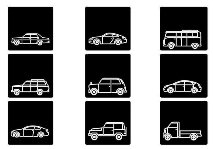 Umrissene Auto-Vektor-Ikonen-Satz vektor