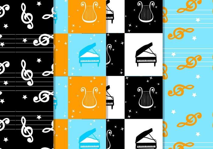 Checkered Musical Pattern Vektor Pack