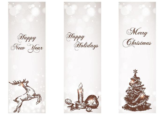 Snowy Holiday Banner Vektor Pack