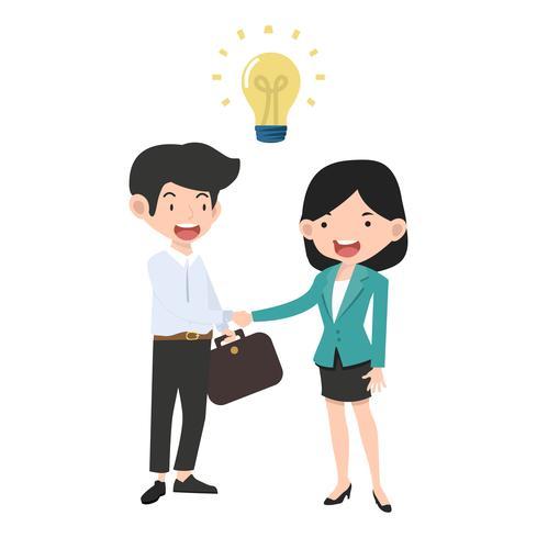 Affärskvinna och affärsman skakar hand vektor