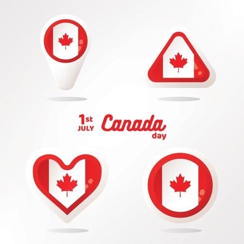Flagge von Kanada in Form Vector Pack