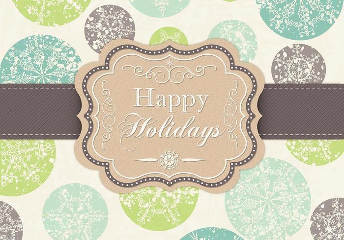 Grungy Schneeflocke Frohe Feiertage Vektor Hintergrund