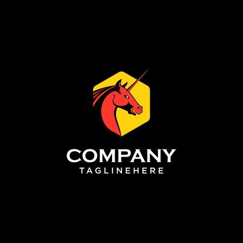 Einhorn Pegasus Pferd Logo Vorlage Vektor
