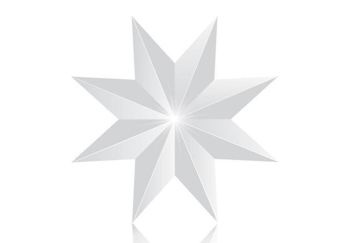 Glänzender silberner Stern-Vektor mit 8 Punkten vektor
