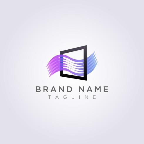 Quadratisches Logo Icon Design mit Wellen, damit Sie verwenden. vektor