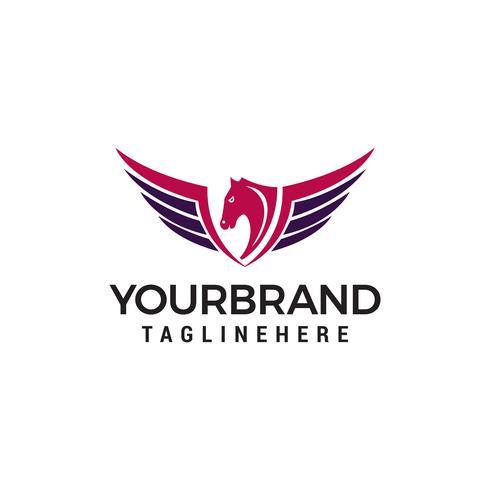 Flügel Pferd Logo Design-Konzept vektor