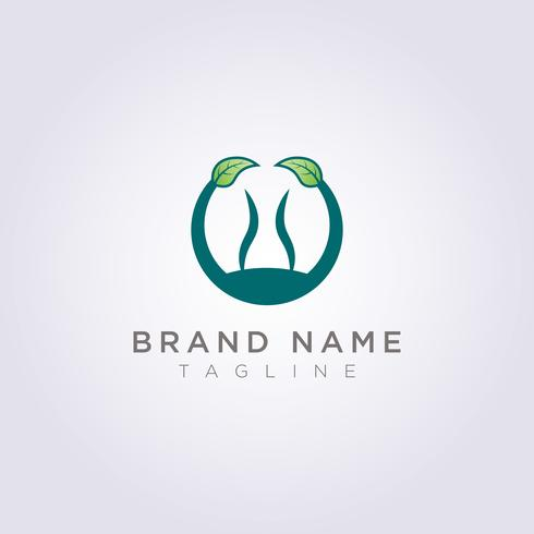 Entwerfen Sie ein Kreislogo mit Blättern und Personen im Kreis für Ihr Unternehmen oder Ihre Marke vektor