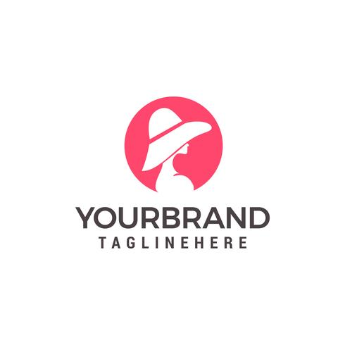 skönhet kvinnor med hatt Logo Mall vektor ikon design