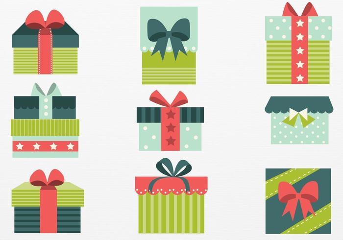 Retro Weihnachtsgeschenk Vektor Pack