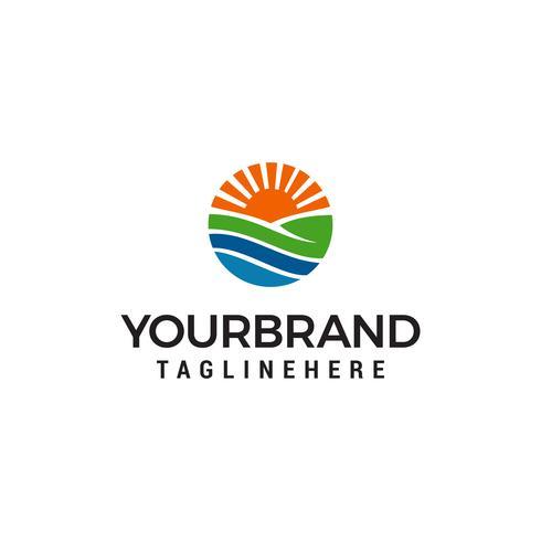 Ackerland-Logo-Vorlage. Wiese Sonnenkreis Logo. Landwirtschaftsillustration entwirft Schablone vektor