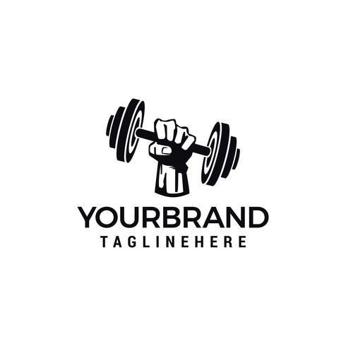 hand barbel Vector logo design för fitness club design vektor mall