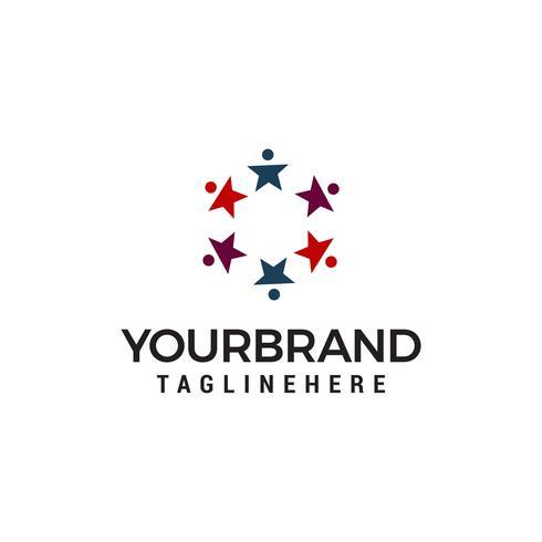 Star folk samhälle logo design koncept mall vektor