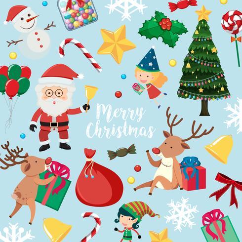 Julkort med Santa och många saker på blå bakgrund vektor