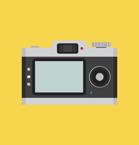 alte Kamera in einem flachen Stil mit Gurt hängen vektor