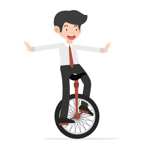 Glückliches Geschäft, das Einradkarikatur reitet vektor