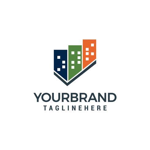 byggnad stad Logo design vektor mall