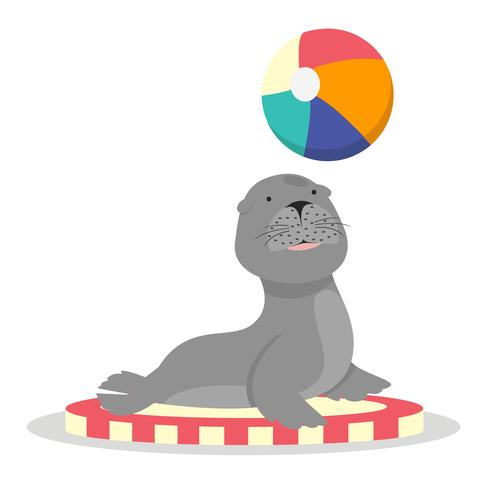Zirkus-Seelöwe mit Ballcharakter-Cartoon vektor