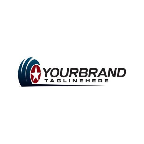 Däckstjärna automatisk logotyp designkoncept mall vektor
