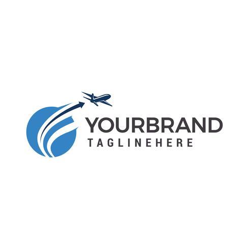 Planet Travel Logo, Flugzeugfliegenlogo-Designschablonenelemente vektor