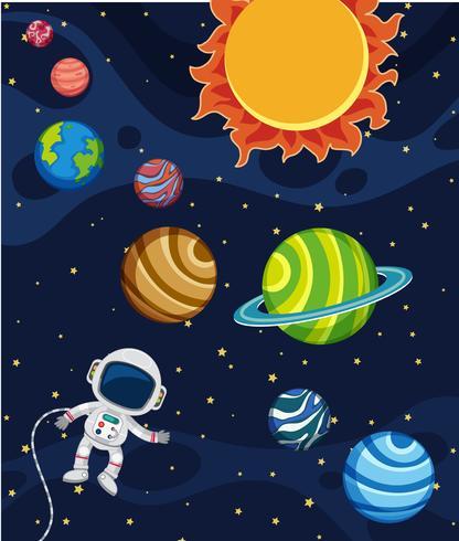 En solsystem scen vektor