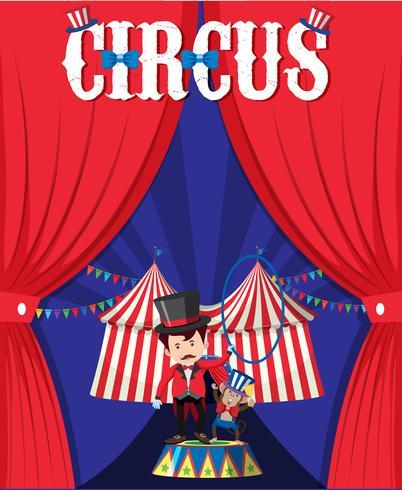 Zirkus mit Magier hinter Vorhang vektor